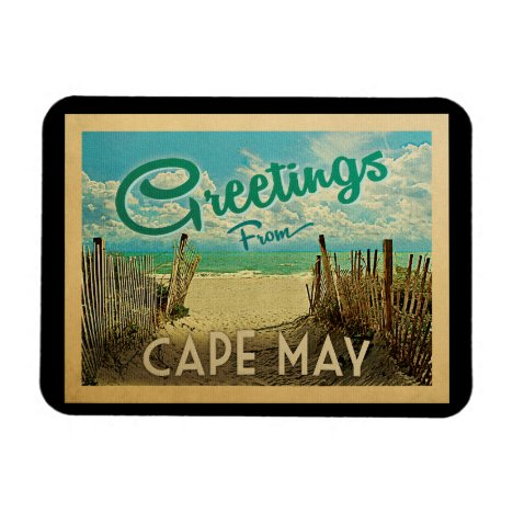 Cape May Beach Vintage Travel Magnet