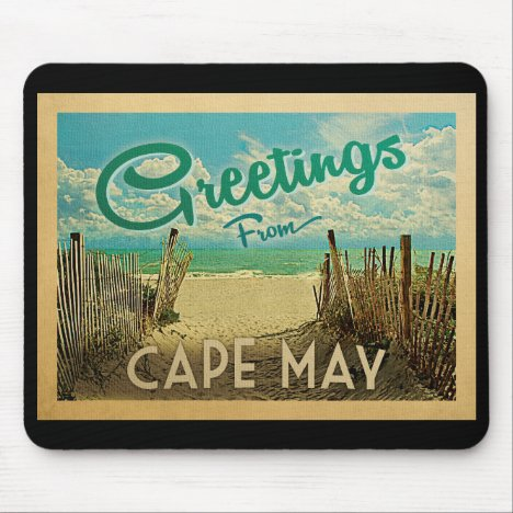Cape May Beach Vintage Travel Mouse Pad
