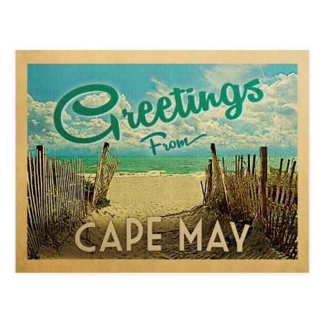 Cape May Beach Vintage Travel Postcard