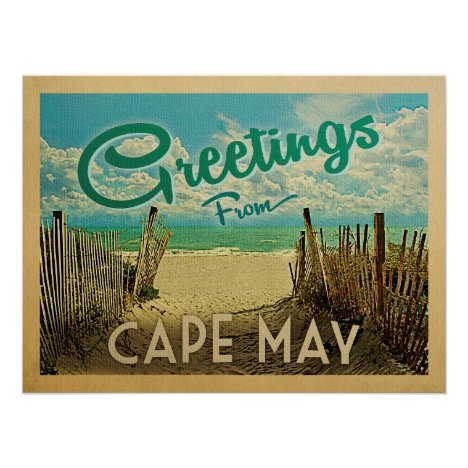 Cape May Beach Vintage Travel Poster