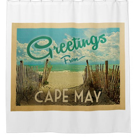 Cape May Beach Vintage Travel Shower Curtain