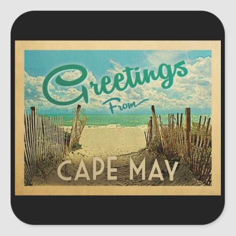 Cape May Beach Vintage Travel Square Sticker