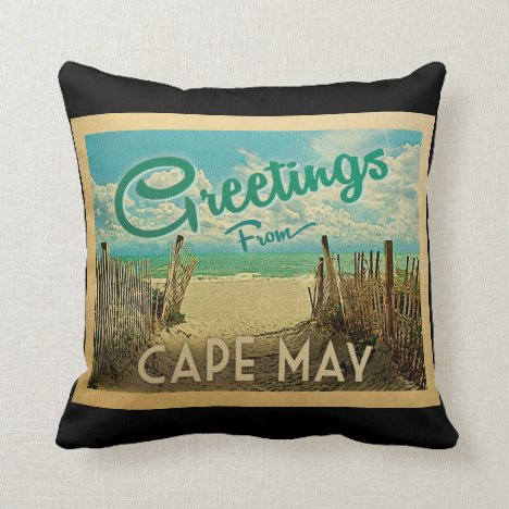Cape May Beach Vintage Travel Throw Pillow