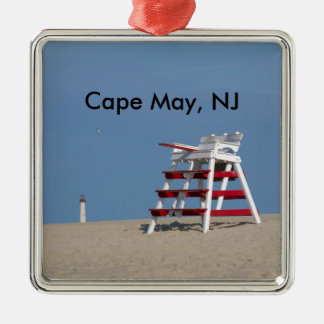 Cape May lifeguard chair Square Metal Christmas Ornament
