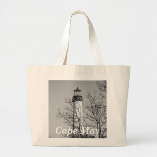 Cape May Light b/w Large Tote Bag