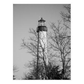 Cape May Light b/w Postcard