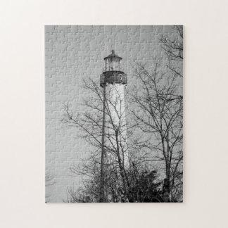 Cape May Light b/w Jigsaw Puzzle