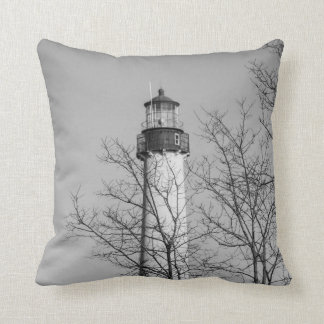 Cape May Light b/w Throw Pillow