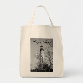 Cape May Light b/w Tote Bag