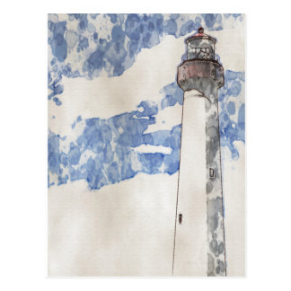 Cape May Lighthouse, painting Postcard