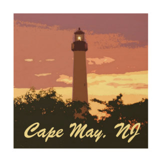 Cape May Lighthouse Wooden Canvas Wood Wall Decor
