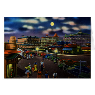 Cape May New Jersey Beach Front Hotels at Night Greeting Card