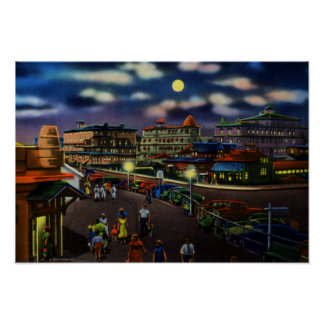 Cape May New Jersey Beach Front Hotels at Night Poster
