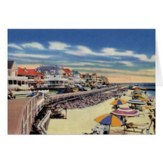 Cape May New Jersey Boardwalk and Cottages Greeting Card