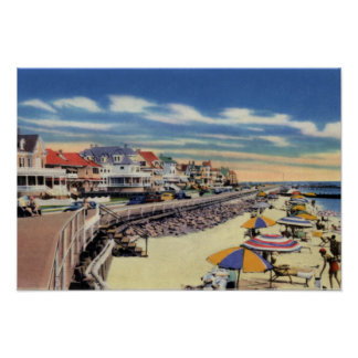 Cape May New Jersey Boardwalk and Cottages Poster