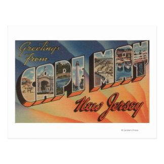 Cape May, New Jersey - escenas grandes de la letra Tarjetas Postales