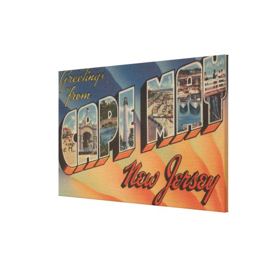 Cape May, New Jersey - Large Letter Scenes Canvas Print