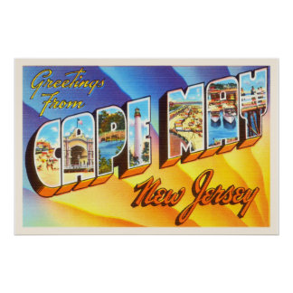 Cape May New Jersey NJ Vintage Travel Postcard- Poster