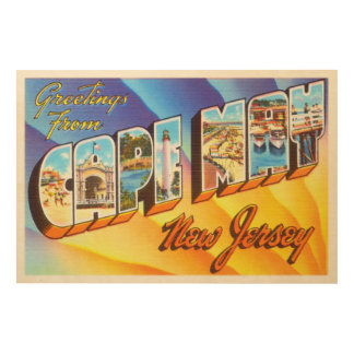 Cape May New Jersey NJ Vintage Travel Postcard- Wood Print