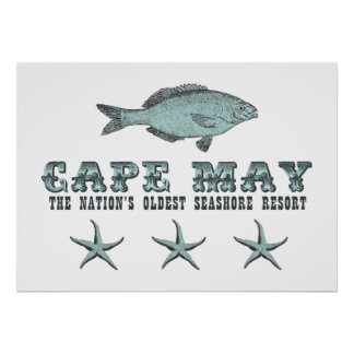 Cape May NJ  Nation's Oldest Seashore Resort Beach Poster