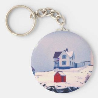 Cape Neddick Light snow art Basic Round Button Keychain