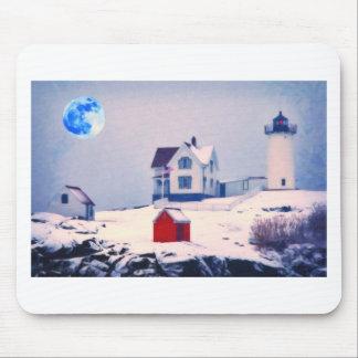 Cape Neddick Light snow Mouse Pad