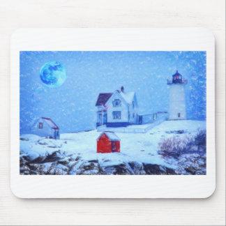 Cape Neddick Light snow pastel Mouse Pad