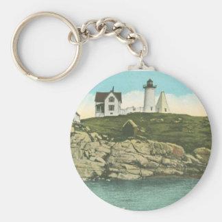 Cape Neddick Lighthouse Basic Round Button Keychain