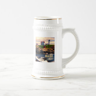 Cape Neddick Lighthouse Maine at Sunset.png Beer Stein