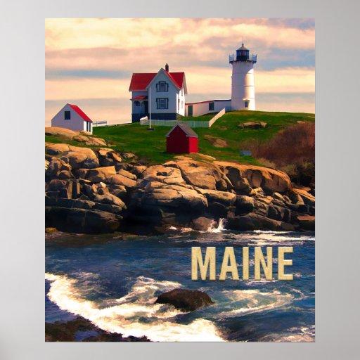 Cape Neddick Lighthouse Maine at Sunset Poster
