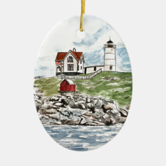 Cape Neddick  lighthouse Maine Ceramic Ornament