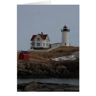 Cape Neddick / Nubble Light in Winter Card