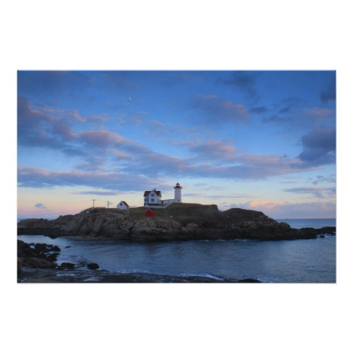Cape Neddick Nubble Lighthouse Twilight Print