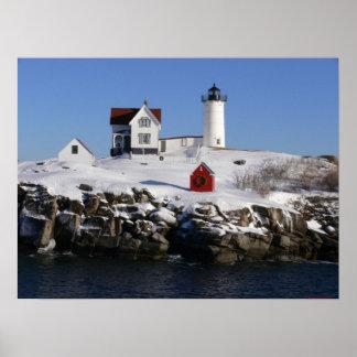 Cape Neddick ( Nubbles ) Lighthouse Winter-Print Poster