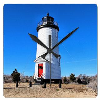 Cape Poge Lighthouse, Massachusetts Chappaquiddick Square Wall Clock