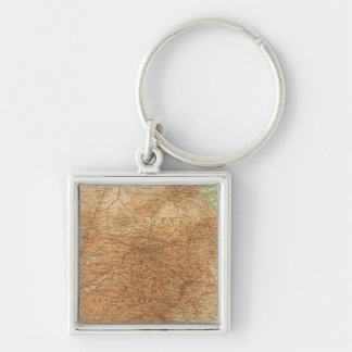 Cape Province, Transvaal, eastern section Silver-Colored Square Keychain