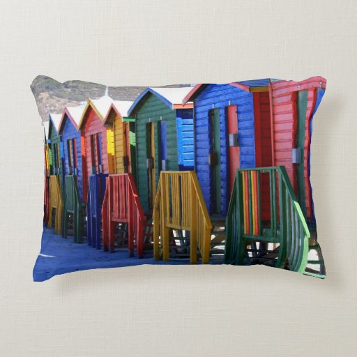 Cape Town Beach Huts Accent Pillow