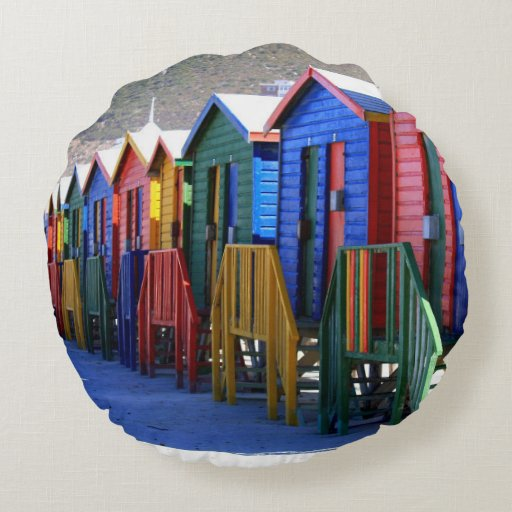 Cape Town Beach Huts Round Pillow