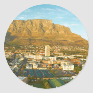 Cape Town Cityscape With Table Mountain Classic Round Sticker