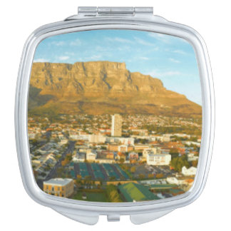 Cape Town Cityscape With Table Mountain Compact Mirror