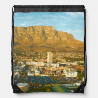 Cape Town Cityscape With Table Mountain Drawstring Backpack