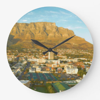 Cape Town Cityscape With Table Mountain Large Clock