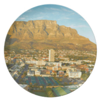 Cape Town Cityscape With Table Mountain Melamine Plate