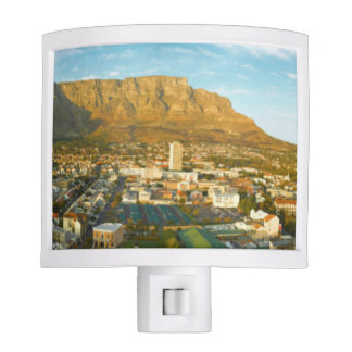 Cape Town Cityscape With Table Mountain Night Light