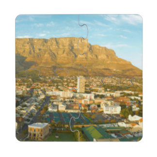 Cape Town Cityscape With Table Mountain Puzzle Coaster