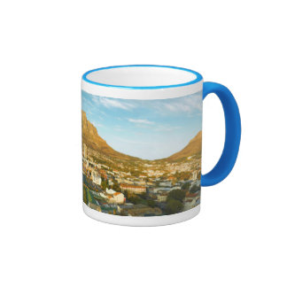 Cape Town Cityscape With Table Mountain Ringer Mug