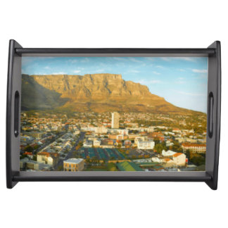 Cape Town Cityscape With Table Mountain Serving Tray