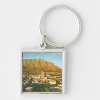 Cape Town Cityscape With Table Mountain Silver-Colored Square Keychain