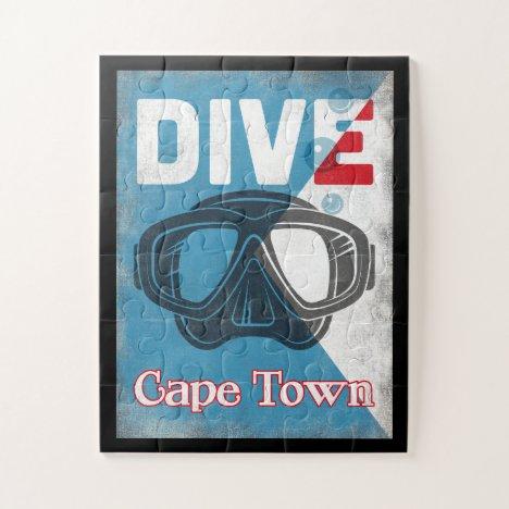 Cape Town Vintage Scuba Diving Mask Jigsaw Puzzle