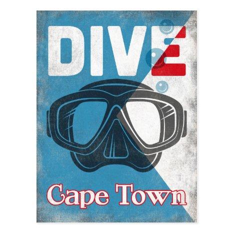 Cape Town Vintage Scuba Diving Mask Postcard